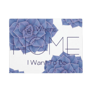 Elegant Big Purple Echeveria Design Doormat