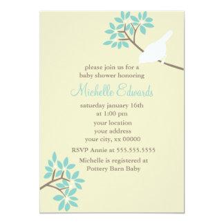 Elegant Birds Baby Shower 13 Cm X 18 Cm Invitation Card