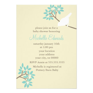 Elegant Birds Baby Shower Personalized Announcements