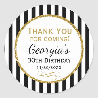 Elegant Birthday Black Gold Thank You Favor Tags Round Sticker