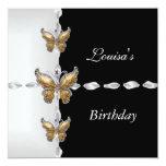 Elegant Birthday Black White Gold Bronze Butterfly Personalized Invitation