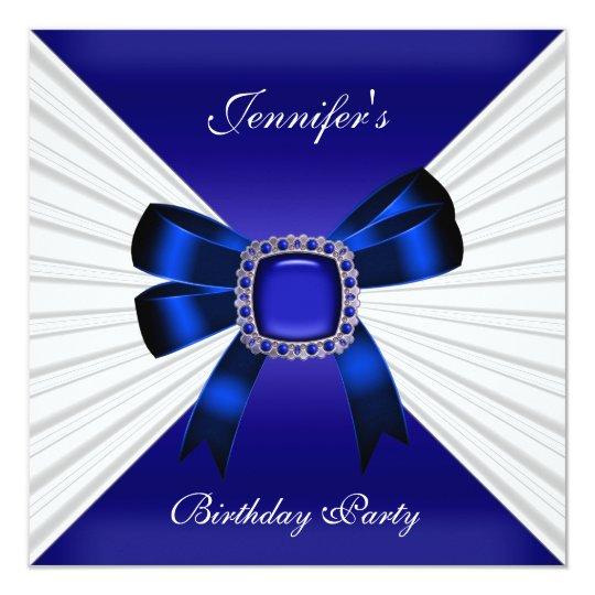 Elegant Birthday Invite Royal Blue Jewel White