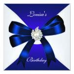 Elegant Birthday Invite Royal Blue Pearl White