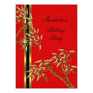 Elegant Birthday Party Asian Bamboo Card