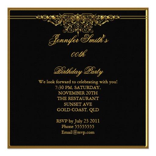 Elegant Birthday Party Black Gold Custom Invite