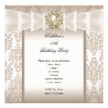 Elegant Birthday Party Damask Pearl Cream Invites