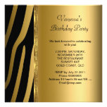 Elegant Birthday Party Gold Black Zebra Stripe Custom Announcement