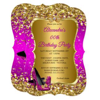 Elegant Birthday Party Magenta Gold High Heels Card