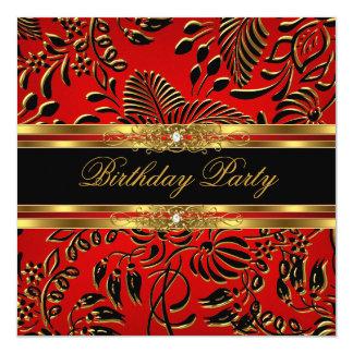 Elegant Birthday Party Red Black Gold Damask 13 Cm X 13 Cm Square Invitation Card
