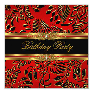 Elegant Birthday Party Red Black Gold Damask Card