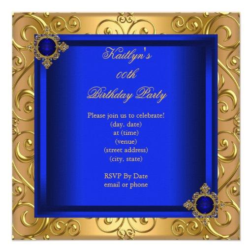 Elegant Birthday Party Royal Blue Damask Gold Personalized Invite