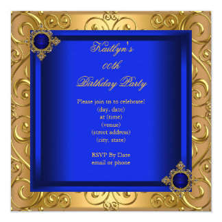 Elegant Birthday Party Royal Blue Damask Gold 5.25x5.25 Square Paper Invitation Card