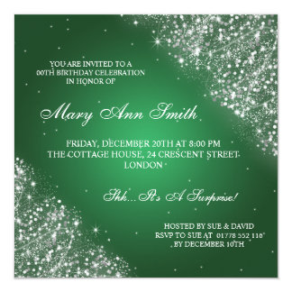Elegant Birthday Party Sparkling Glitter Green 13 Cm X 13 Cm Square Invitation Card