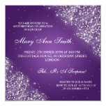 Elegant Birthday Party Sparkling Glitter Purple Personalised Announcement