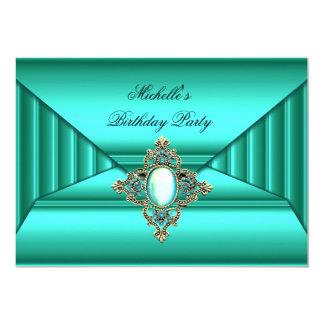 Elegant Birthday Party Teal Jewel Purse Look 13 Cm X 18 Cm Invitation Card