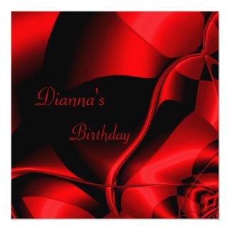 Elegant Birthday Red Black Abstract 13 Cm X 13 Cm Square Invitation Card