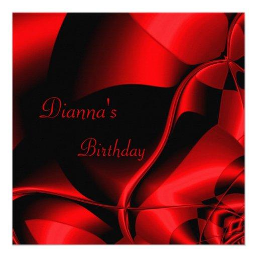 Elegant Birthday Red Black Abstract Invitation