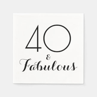 Elegant Black 40 and Fabulous Party Napkins Disposable Serviette