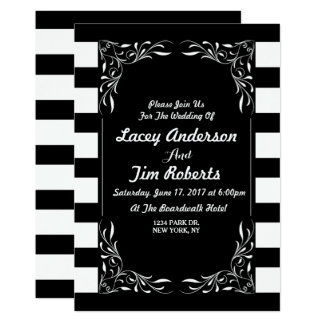 Elegant Black an White Stripe Wedding Invitation