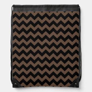 Elegant Black and Brown Chevron Pattern Drawstring Bag