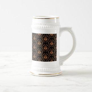 Elegant black and brown damask pattern mug