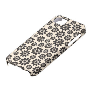 Elegant black and cream whimsical flower pattern iPhone 5 covers