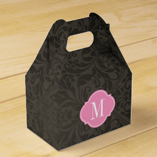 Elegant Black and Dark Gray Damask with Monogram Favour Box
