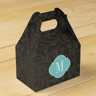 Elegant Black and Dark Gray Damask with Monogram Party Favour Box