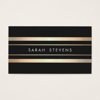 Elegant Black and Faux Foil Gold Striped Modern