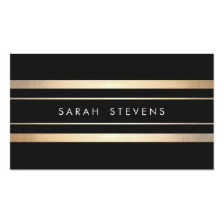 Elegant Black and Faux Foil Gold Striped Modern Pack Of Standard Business Cards