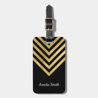 Elegant Black and Faux Gold Geometric Luggage Tag