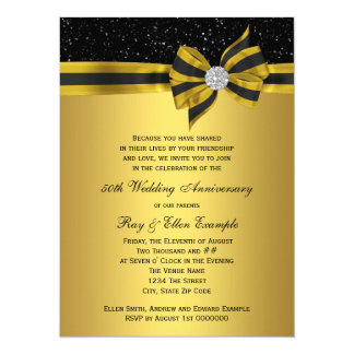 Elegant Black and Gold Bow 50th Anniversary Party 14 Cm X 19 Cm Invitation Card