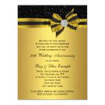 Elegant Black and Gold Bow 50th Anniversary Party 14 Cm X 19 Cm Invitation Card