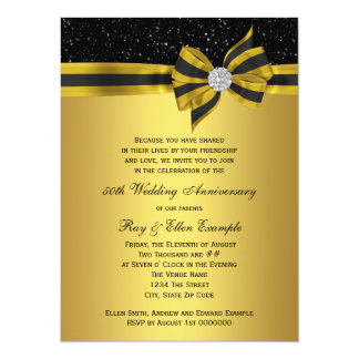 Elegant Black and Gold Bow 50th Anniversary Party Custom Announcements