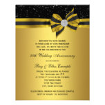 Elegant Black and Gold Bow 50th Anniversary Party Custom Announcement