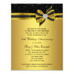 Elegant Black and Gold Bow 50th Anniversary Party 11 Cm X 14 Cm Invitation Card