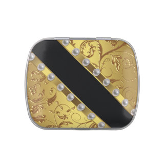 Elegant Black and Gold Candy Jelly Belly Candy Tins