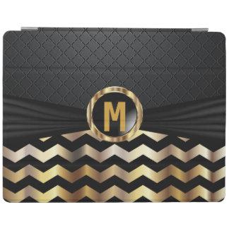 Elegant Black and Gold Chevron Pattern iPad Cover