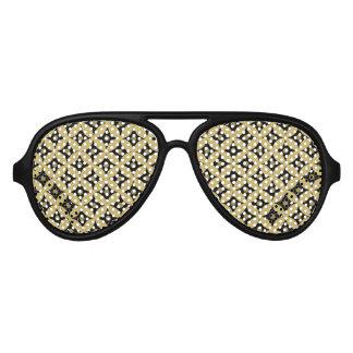 Elegant Black and Gold Circle Polka Dots Pattern Aviator Sunglasses