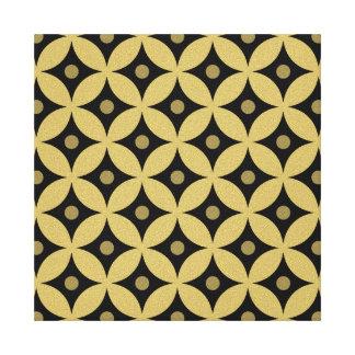 Elegant Black and Gold Circle Polka Dots Pattern Canvas Print