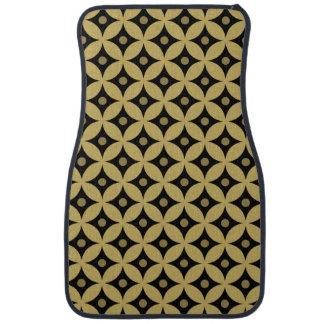 Elegant Black and Gold Circle Polka Dots Pattern Car Mat
