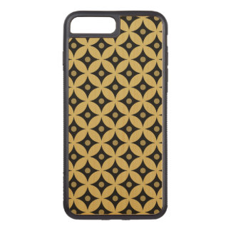 Elegant Black and Gold Circle Polka Dots Pattern Carved iPhone 8 Plus/7 Plus Case
