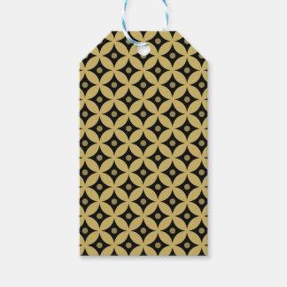 Elegant Black and Gold Circle Polka Dots Pattern Gift Tags
