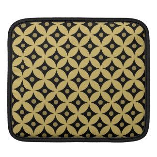 Elegant Black and Gold Circle Polka Dots Pattern iPad Sleeve