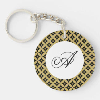 Elegant Black and Gold Circle Polka Dots Pattern Key Ring
