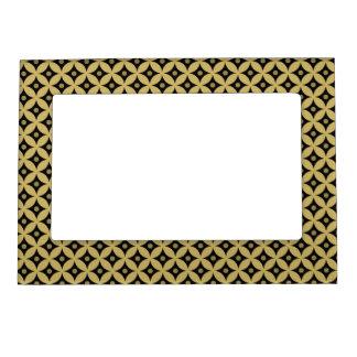 Elegant Black and Gold Circle Polka Dots Pattern Magnetic Frame