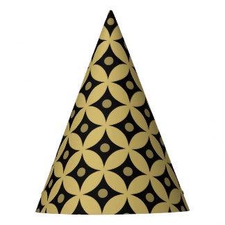 Elegant Black and Gold Circle Polka Dots Pattern Party Hat