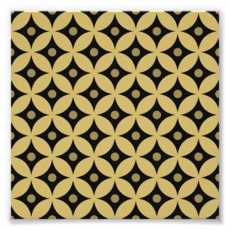 Elegant Black and Gold Circle Polka Dots Pattern Photo Print
