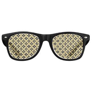 Elegant Black and Gold Circle Polka Dots Pattern Retro Sunglasses