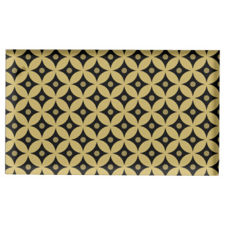 Elegant Black and Gold Circle Polka Dots Pattern Table Card Holder